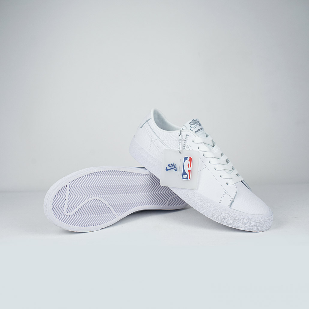 Nike SB Zoom Blazer Low NBA White White-Rush Blue – LOBBY 9bc3ee0481d