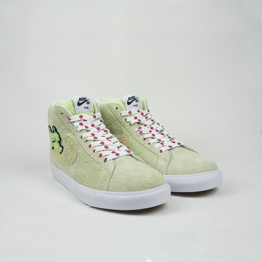 performance sportswear recognized brands new high quality Nike SB x Frog Skateboards Zoom Blazer Mid QS LT Liquid Lime/Lawn-White